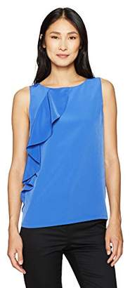 Lark & Ro Women's Sleeveless Cascade Ruffle Top