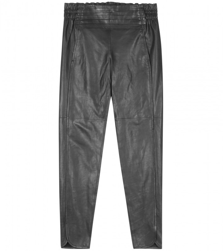 Alexander Wang LEATHER TRACKPANTS WITH PLEATING
