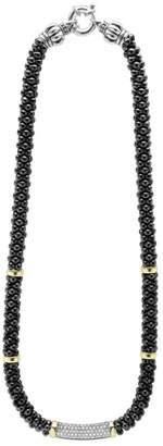 Lagos 'Black Caviar' 7mm Beaded Diamond Bar Necklace