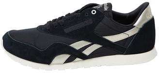 Reebok Classics Womens Classic Nylon Slim Metallic Trainers Black Chalk Flint  Grey a34e86ba8