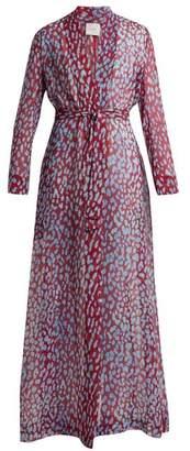 On The Island - Marigot Leopard Print Silk Robe - Womens - Burgundy Multi