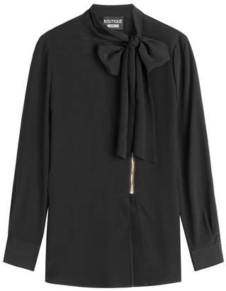 Moschino Zipped Blouse with Bow at Neck