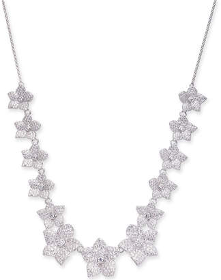 "Kate Spade Silver-Tone Pave Flower Collar Necklace, 17"" + 3"" extender"