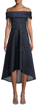 Rickie Freeman For Teri Jon Off-the-Shoulder Embroidered Neoprene High-Low Dress