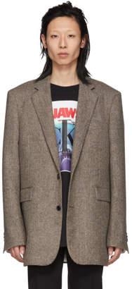 Calvin Klein Brown Chevron Boxy-Fit Blazer