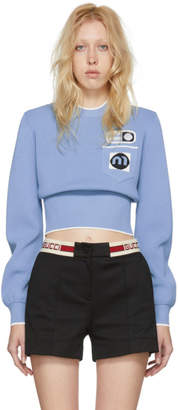 Miu Miu Blue Patches Crewneck Sweater