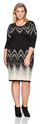 Gabby Skye Women's Plus Size 3/4 Sleeve Round Neck Midi Sweater Sheath Dress