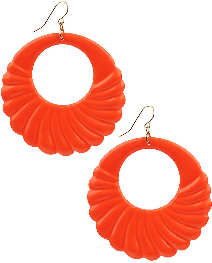 Neon Scallop Hoop Earrings