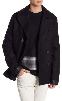 AllSaints Felix Double Breasted Lamb Leather Trim Peacoat