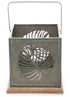 Foreside Home & Garden Green/Brown Large Palm Leaf Square Lantern
