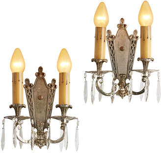 Rejuvenation Pair of Silver-Plated Candle Sconces w/ Crystal Spears