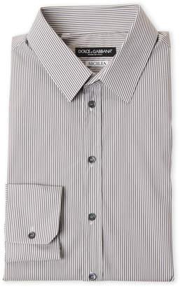 Dolce & Gabbana Grey Striped Sicilia Dress Shirt
