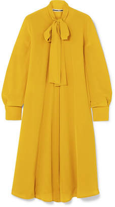McQ Embellished Pussy-bow Crepe Dress - Mustard