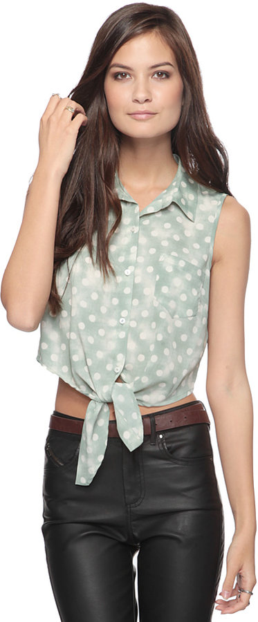 Forever 21 Polka Dot Crop Button Up