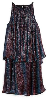 Miss Behave Girls' Paris Tiered Metallic Dress - Big Kid
