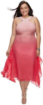 JLO by Jennifer Lopez Plus Size Crossover-Neck Chiffon Dress
