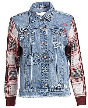 Scripted Women's Distressed Plaid Denim Jacket