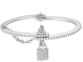 18K White Gold Diamond Laced Lock Cuff Bracelet