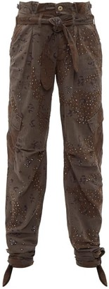 RE/DONE Camouflage Print Crystal Stud Paperbag Trousers - Womens - Khaki