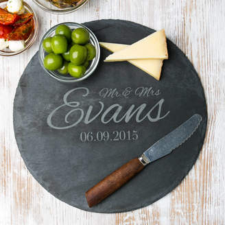 Dust and Things Personalised Anniversary Round Slate Cheese Board
