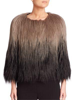 Elie Tahari Delma Faux Fur Ombre Jacket $348 thestylecure.com