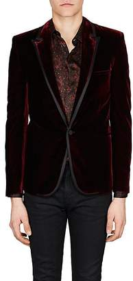 Saint Laurent Men's Velvet One-Button Tuxedo Jacket - Red