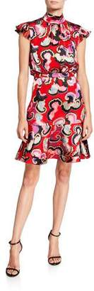 Saloni Pheobe Printed Cap-Sleeve Flounce Dress
