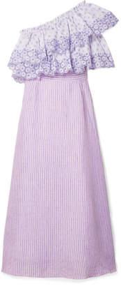Gül Hürgel One-shoulder Broderie Anglaise-trimmed Striped Linen Dress
