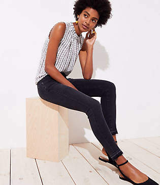LOFT Modern Front Seam Unpicked Skinny Jeans in Washed Black