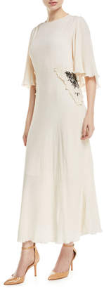 See by Chloe Long Flutter-Sleeve Dress with Applied Lace