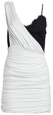 Alice + Olivia Women's Bianca Ruched One-Shoulder Stretch Silk Mini Dress