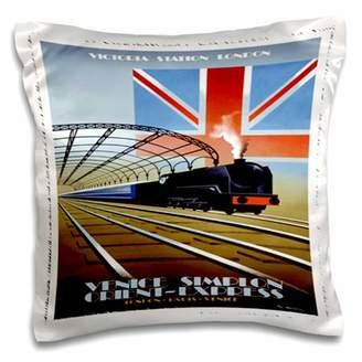 Orient Express 3dRose Vintage London Poster - Pillow Case, 16 by 16-inch