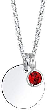 Elli Women Birthstone December Swarovski Crystals 925 Silver Necklace of Length 45cm