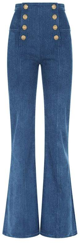 Button Front Flared Jeans