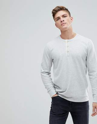 Abercrombie & Fitch Waffle Henley Long Sleeve Top in Off White
