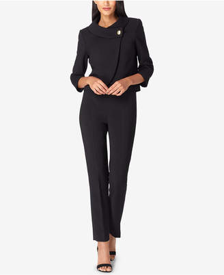 Tahari ASL Button-Collar Pantsuit