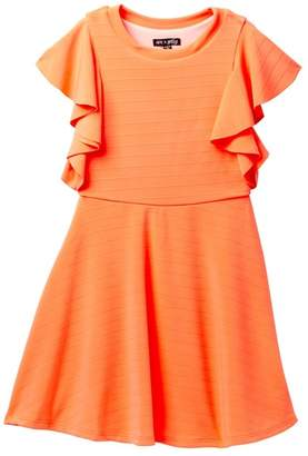 Ava & Yelly Ruffle Sleeve Moc Neck Dress (Big Girls)