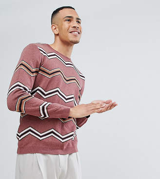 Asos DESIGN TALL Jacquard Knit Sweater With Chevron Stripes In Dark Pink