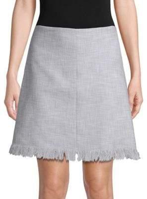 Rebecca Taylor Frayed Hem A-Line Skirt