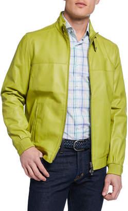 Stefano Ricci Men's Lamb Leather Zip-Front Sport Jacket
