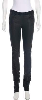 Helmut Lang Leather-Trimmed Mid-Rise Jeans w/ Tags