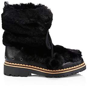 Sam Edelman Women's Blanche Faux Fur and Leather Tassel Boots