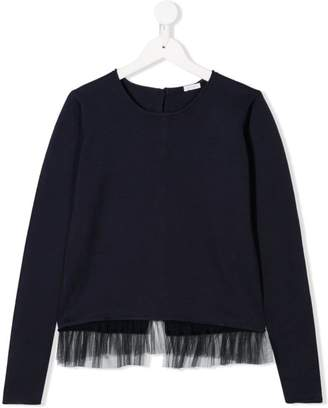 Il Gufo tulle hem knitted top