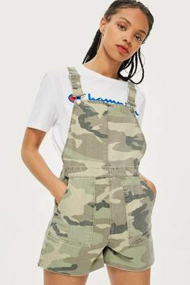Topshop Camouflage Short Dungarees