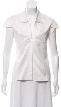 Cushnie et Ochs Short Sleeve Button-Up Top