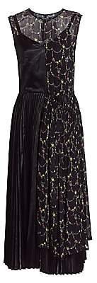 Junya Watanabe Women's Sleeveless Satin & Printed Pleated Midi Dress