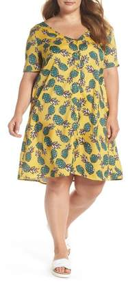 Glamorous Button Front Pineapple Print Dress (Plus Size)