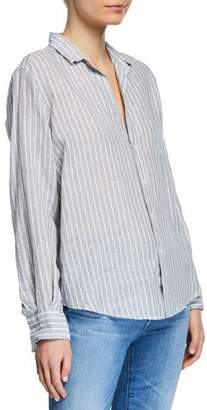Frank And Eileen Striped Button-Down Long-Sleeve Linen Blouse w/ Patch Pocket