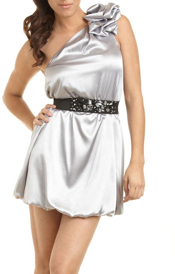 Jeweled Belt One Shoulder Charm Dress