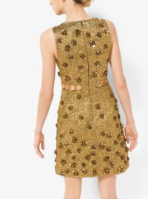 Michael Kors Collection Floral Metallic-Embroidered Brocade Dress